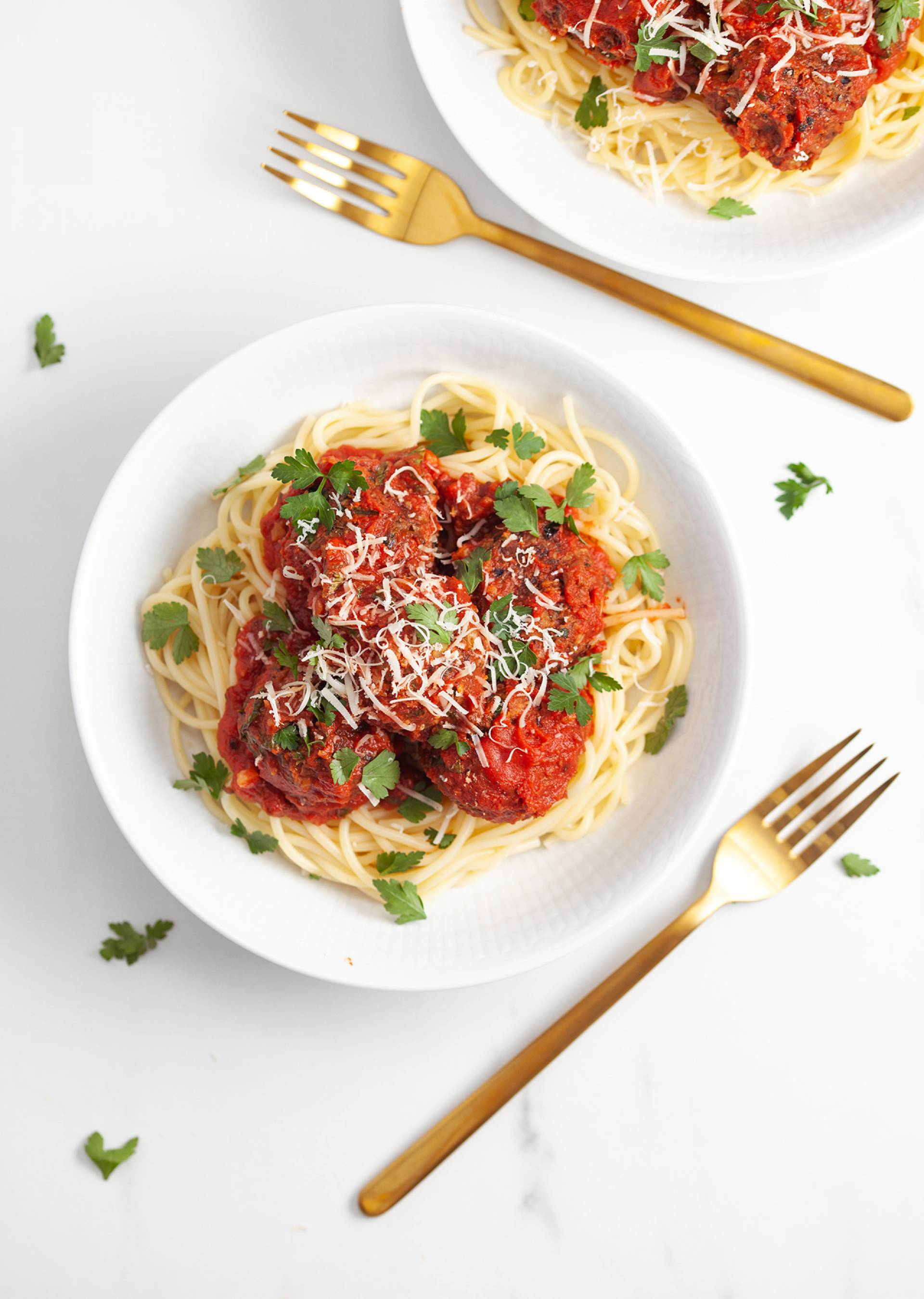 Spaghetti Pomodoro + Black Bean Meet-Balls