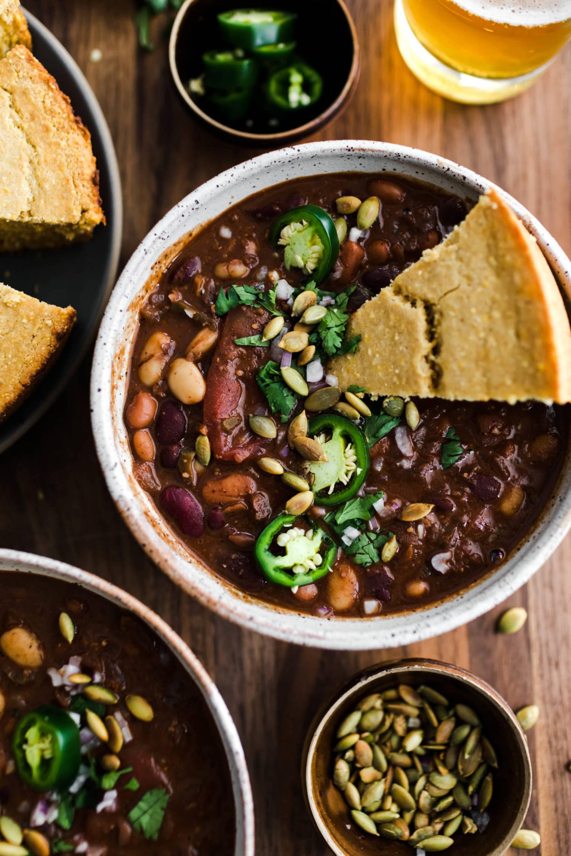 Rustic Molé Chili + Jalapeño Cornbread